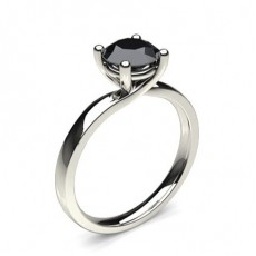 4 Prong Setting Plain Engagement Black Diamond Ring