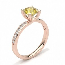 Round Rose Gold Yellow Diamond Engagement Rings