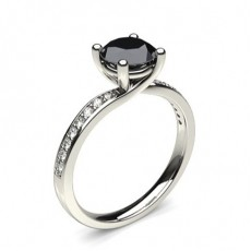 4 Prong Setting Studded Side Stone Engagement Black Diamond Ring