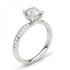 Round Platinum Side Stone Diamond Engagement Rings