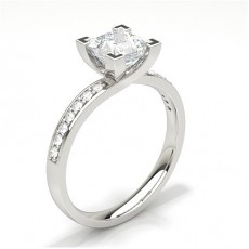 Princess  Side Stone Engagement Rings