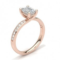 Emerald Rose Gold Side Stone Diamond Rings