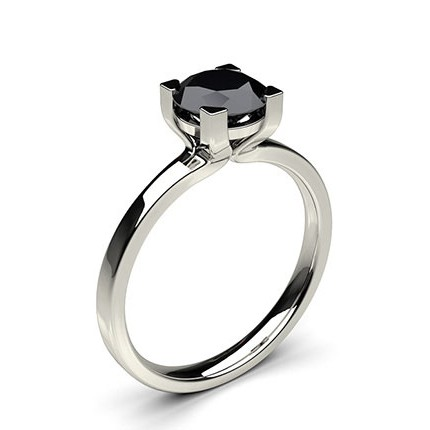 Buy 4 Prong Setting Plain Engagement Black Diamond Ring Online UK