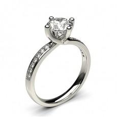 Round Platinum  Side Stone Diamond Engagement Rings