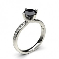 Round Platinum Black Engagement Engagement Rings