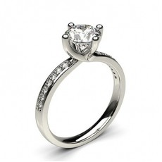 4 Prong Setting Studded Side Stone Engagement Ring