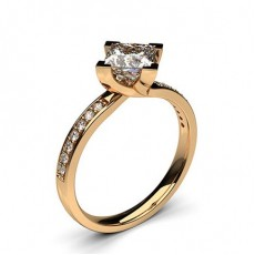Princess Rose Gold Side Stone Engagement Rings