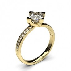 Princess Yellow Gold Side Stone Diamond Engagement Rings