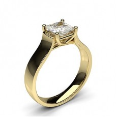 Princess Yellow Gold  Solitaire Diamond Engagement Rings
