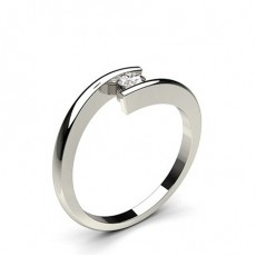 Bague mini diamant rond/princesse serti rail