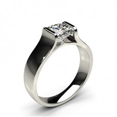 Princess White Gold Solitaire Diamond Rings