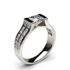 Channel Setting Studded Side Stone Engagement Ring