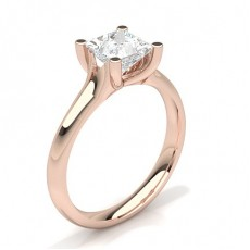 Princess Rose Gold Solitaire Diamond Engagement Rings