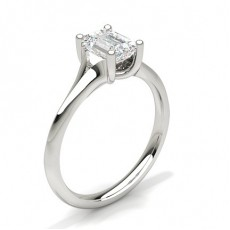 Emerald Platinum Solitaire Diamond Rings