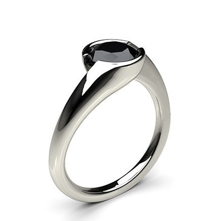 Buy Semi Bezel Setting Plain Engagement Black Diamond Ring Online UK
