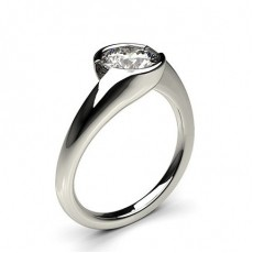 Semi Bezel Setting Plain Engagement Ring