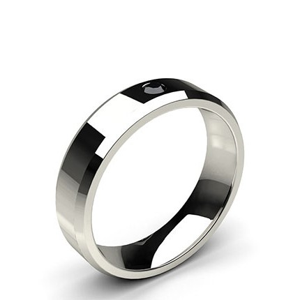 Studded Beveled Profile Comfort Fit Black Diamond Wedding Band