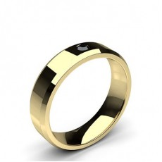 Round Yellow Gold Black Diamond Men's Wedding Bands