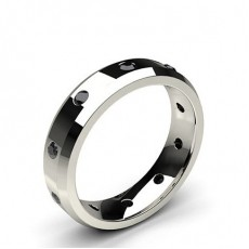 Studded Beveled Profile Comfort Fit Black Diamond Wedding Band