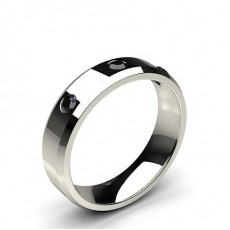 Round Platinum Black Diamond Women's Wedding Bands