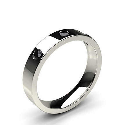 Studded Flat Profile Comfort Fit Black Diamond Wedding Band