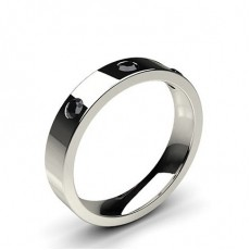 Studded Flat Profile Comfort Fit Black Diamond Wedding Band