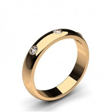 Round Rose Gold Diamond Men's Wedding Bands