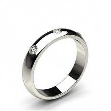 Studded Low  Dome Standard Fit Diamond Wedding Band