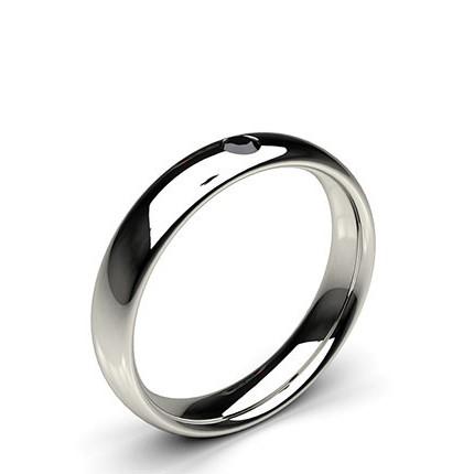 Studded Court Profile Comfort Fit Black Diamond Wedding Band