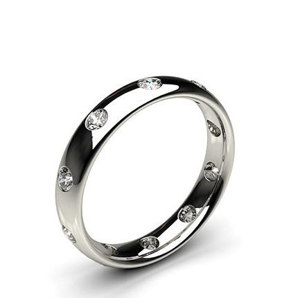 4.00mm Studded Court Profile Comfort Fit Diamond Wedding Band
