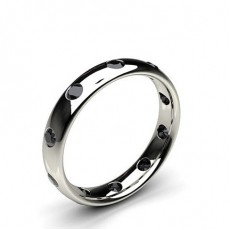 Studded Court Profile Comfort Fit Black Diamond Wedding Band