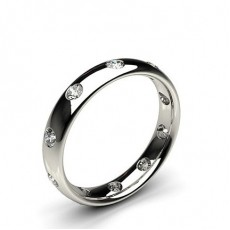 4.00mm Studded Court Profile Comfort Fit Diamond Wedding Band