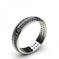 Studded Knife Edge Standard Fit Black Diamond Wedding Band