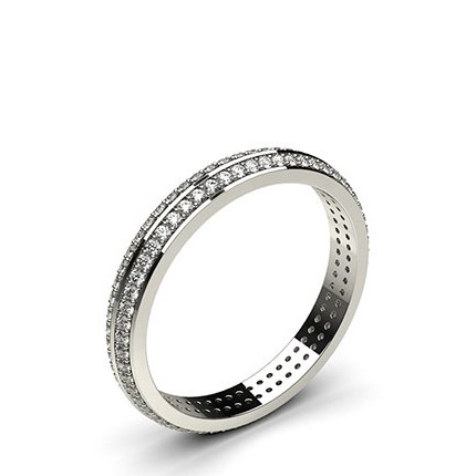 Studded Knife Edge Flat Profile Fit Diamond Wedding Band