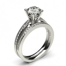 Bague 3 pierres diamant baguette serti barette 0.40ct