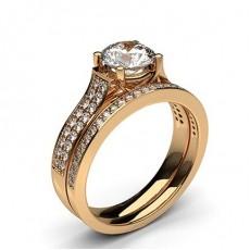 Round Rose Gold Bridal Set Engagement Rings