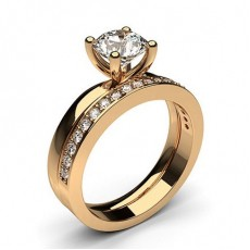 Round Rose Gold Bridal Set Engagement Rings