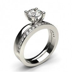 Round White Gold Bridal Set Diamond Engagement Rings