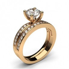 Rose Gold Bridal Set Diamond Engagement Rings