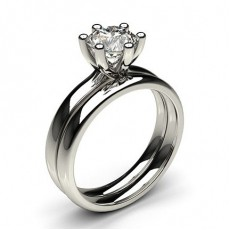 Round Platinum Bridal Set Engagement Rings