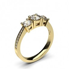 Round Yellow Gold Trilogy Engagement Rings