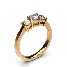 Round Rose Gold 3 Stone Diamond Rings
