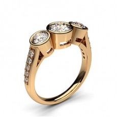 Round Rose Gold  Trilogy Diamond Engagement Rings