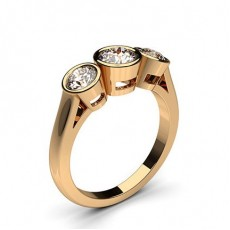 Full Bezel Setting Plain Three stone Ring