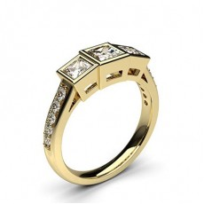 Princess Yellow Gold  Trilogy Engagement Rings