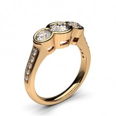 1.00ct. Semi Bezel Setting Studded Three stone Ring