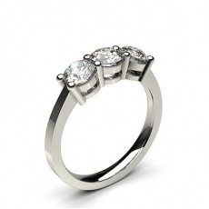 Round White Gold Trilogy Diamond Engagement Rings