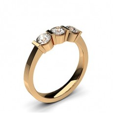 Bar Setting Plain Three stone Ring