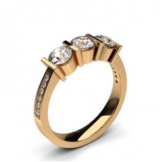 Bar Setting Studded Three stone Ring