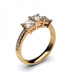 Princess Rose Gold Trilogy Engagement Rings